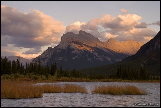 - Sunset light on Mt. Rundle, above the Vermillion Lakes, Banff NP, Canada -
