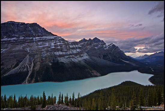 - Caldron Peak and Mt. Patterson above Peyto Lake at sunset, Banff NP, Canada -