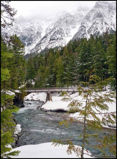 - Bridge Across McDonald Creek in Winter, Glacier NP -