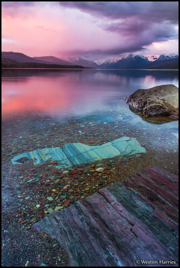 - Colorful Rocks in Lake McDonald at Sunset, Glacier NP -