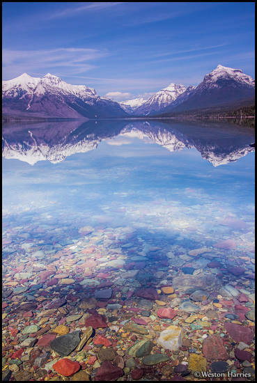 - Colorful Pebbles Below a Reflection in Lake McDonald, Glacier NP -
