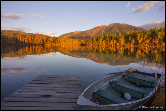 - Row Boat and Dock at Half Moon Lake, West Glacier, MT -