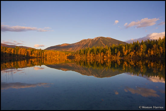 - Fall Colors Reflected in Half Moon Lake, West Glacier, MT -