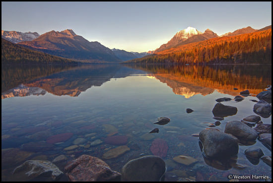 - Sunset Reflection in Bowman Lake, Glacier NP -