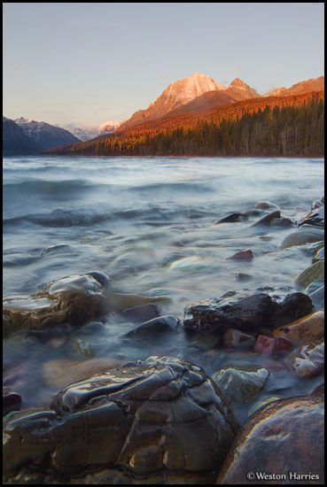 - Blurred Waves on Bowman Lake at Sunset, Glacier NP -