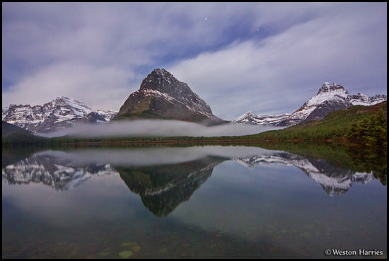 - Mt. Gould, Grinnell Pt, and Mt. Wilbur Reflected Under Moonlight, Glacier NP -