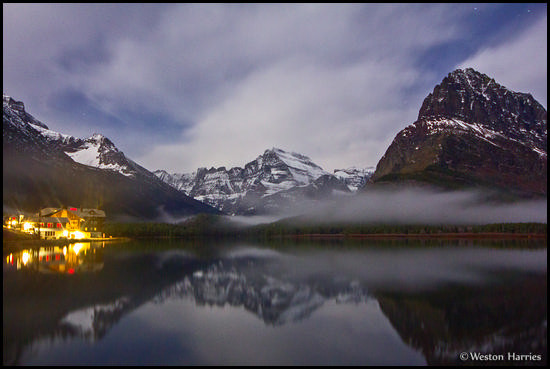 - Many Glacier Hotel and Mtns Reflected Under Moonlight, Glacier NP -