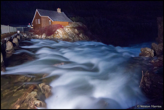 - Swiftcurrent Creek and Cabin Under Moonlight, Glacier NP -