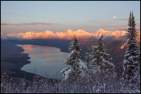 - Winter Sunset and Moonrise Over Lake McDonald, Seen From Apgar Lookout, Glacier NP -