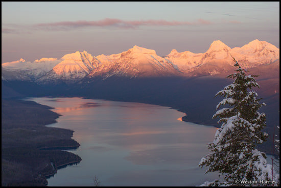 - Winter Sunset Over Lake McDonald, Seen From Apgar Lookout, Glacier NP -