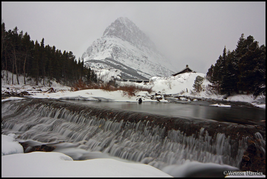 - Swiftcurrent Creek and Grinnell Point Under Moonlight in Winter, Glacier NP -