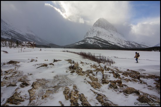 - Winter Caretaker Walking Towards Many Glacier Hotel, Below Grinnell Point, Glacier NP -