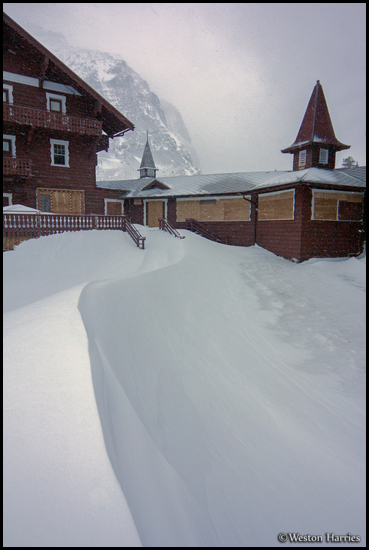 - Snow Drift Leading Up To Many Glacier Hotel, Glacier NP -