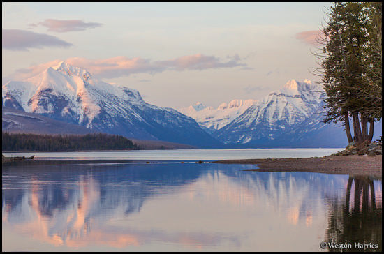 - McDonald Creek Reflecting the Peaks Above Lake McDonald at Sunset, Glacier NP -