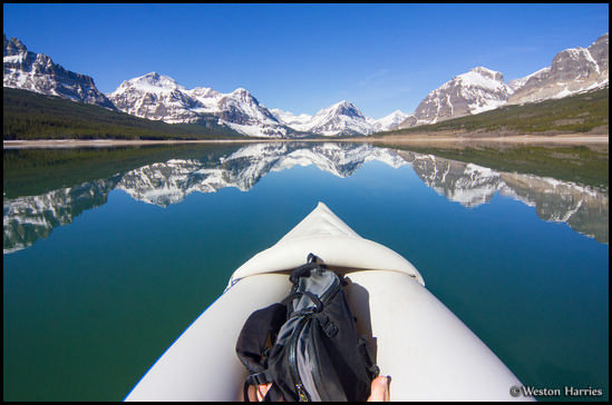 - Paddling on Lake Sherburne with a Perfect Reflection, Glacier NP -