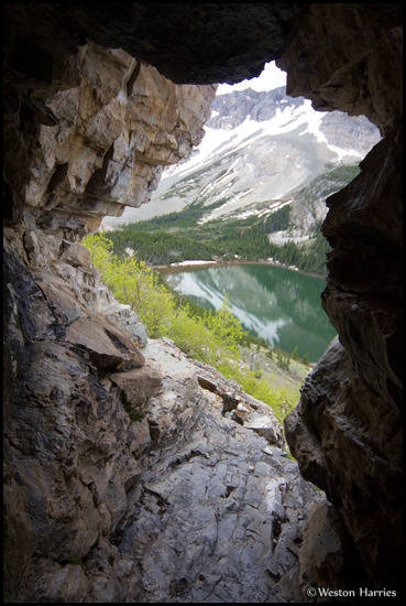 - Looking Down on Poia Lake From Poia Cave, Glacier NP -