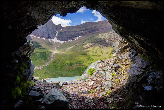- Looking Out From Cracker Mine, Glacier NP -