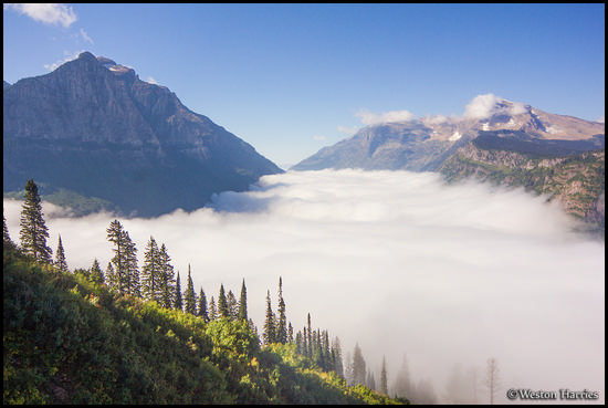 - McDonald Creek Valley Filled with a Sea of Clouds, Glacier NP -