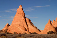 - Sharp Pointed Sandstone Fins, Late Afternoon, Arches NP -