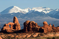 - Turret Arch with the La Sal Mtns in the Background, Arches NP -