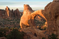 - Sunset Light on Double O Arch, Arches NP -