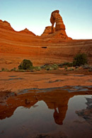 - Delicate Arch Reflected in a Small Pool, Arches NP -