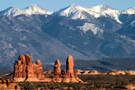- Sandstone Formations Beneath the Snow Capped La Sal Mtns, Arches NP -