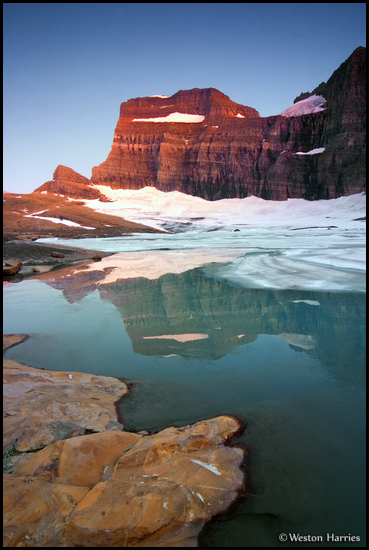 - Upper Grinnell Lake and Grinnell Glacier at Sunset, Glacier NP -