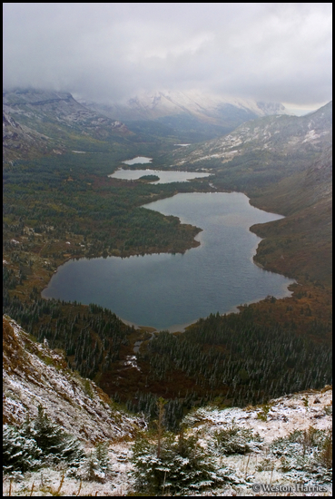 - Aerial View of Bullhead Lake in Snowy Weather, Glacier NP -