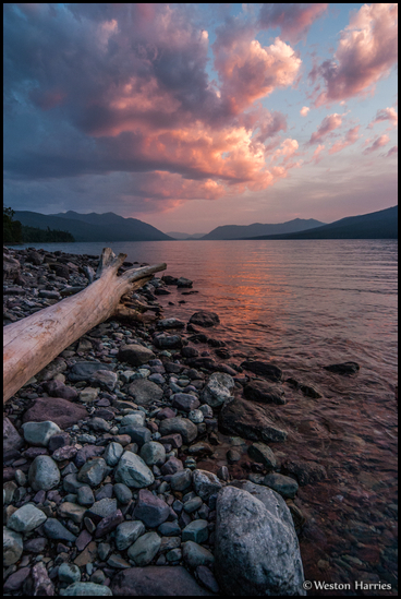 - Rocky Shore of Lake McDonald, Sunset, Glacier NP -