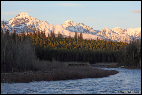 - Snow Covered Peaks Above the North Fork of the Flathead River at Sunset, Glacier NP -