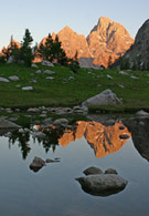 - Reflection of Mt. Owen and the Grand at Lake Solitude, Sunset, Grand Teton NP -