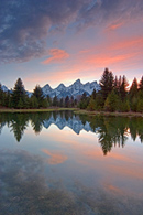 - Sunset Clouds and the Teton Range Reflected in the Snake River at Schwabacher's Landing, Grand Teton NP -