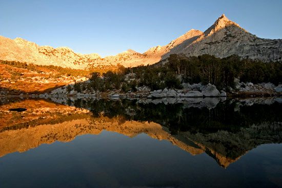 - Sunset Light Reflected in the 1st Kearsarge Lake, Kings Canyon NP -