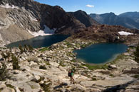 - Backpacker Descending Towards Crystal Lakes, Mineral King Area, Sequoia NP -