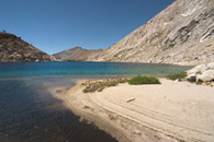 - Sandy Beach and Turquoise Water at Upper Monarch Lake, Mineral King Area, Sequoia NP -