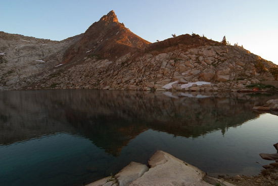 - Mineral Peak Reflected in Upper Monarch Lake at Sunset, Mineral King Area, Sequoia NP -