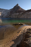 - Sandy Beach, Turquoise Water, and Mineral Peak at Upper Monarch Lake, Mineral King Area, Sequoia NP -