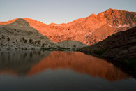 - Sunset Light Reflected in Upper Crystal Lake, Mineral King Area, Sequoia NP -