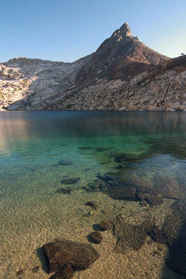 - Turquoise Water and Mineral Peak at Upper Monarch Lake, Mineral King Area, Sequoia NP -