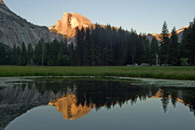 - Half Dome Reflected in a Spring Pond, Sunset, Yosemite NP -