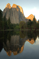 - Cathedral Rocks Reflected in a Spring Pond, Sunrise, Yosemite NP -
