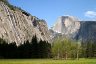 - Royal Arch Cascade and Half Dome, Seen From Awahnee Meadow, Yosemite NP -
