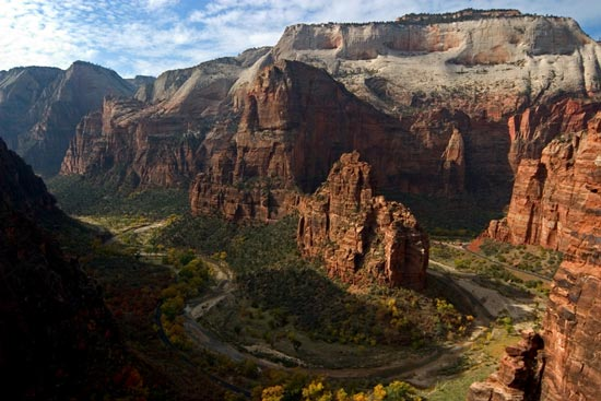 - Looking Down on the Big Bend, the Organ, Angels Landing, and Cathedral Mtn, Zion NP -